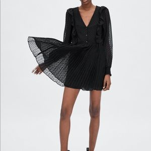 Zara Romper/Mini dress Black dotted long sleeve XS